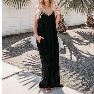 NWT Black Strappy Maxi Long Boho Flowy Tank Dress